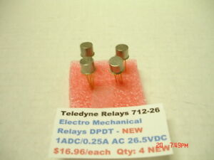 Teledyne Relays 712 26 Electro Mechanical Dpdt 1a Dc 0 25a Ac 26 5vdc New