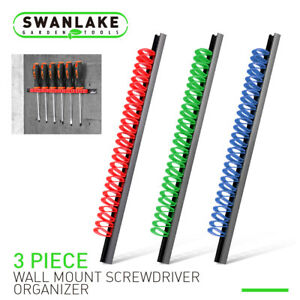 3pc Wall Mount Wrench Organizer Screwdriver Holder Tool Rail Rack Fit All Sizes