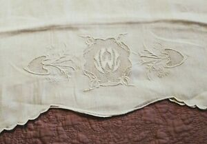 Gorgeous Antique Fine Handkerchief Linen Embroidered Linen Pillowcase 29 By 22