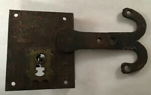 Antique Hand Forged Wrought Iron Brass Architectural Lock Latch Aafa Folk Art