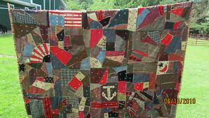 Vintage Hand Embroidered Crazy Quilt Flowers American Flag Anchor 68 X 80