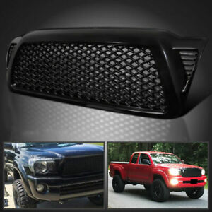 For 2005 2011 Toyota Tacoma Glossy Black Front Hood Mesh Grille Abs Upper
