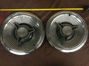 Set Of Two Vintage Pontiac Spinner Hub Caps Mid 60 S