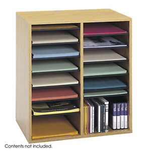 Wood Adjustable Literature Organizer 16 Compartment Medium Oak