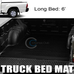 Blk Rubber Diamond Plate Truck Bed Trunk Floor Mat Carpet For 05 18 Tacoma 6 Ft