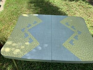 Vintage Mid Century Formica Chrome Table Unique Yellow Ritz Design Must See