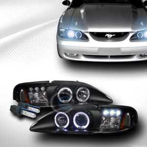 8000k Hid Xenon W Black Led Halo Projector Head Lights Signal 1994 1998 Mustang