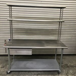 66 X 30 Stainless Steel Nsf Work Table Double Over Shelf On Wheels 2174