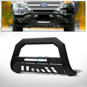 Fit 11 18 Ford Explorer Matte Black Avt Aluminum Led Light Bull Bar Grille Guard