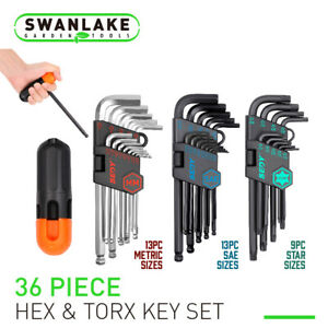 35pc Hex Key Allen Wrench Set Ball End Long Arm Industrial Grade Sae Metric Star
