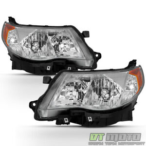 2009 2013 Subaru Forester Halogen Headlights Headlamps W bulbs 09 10 11 12 13