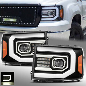 For 2007 2013 Gmc Sierra Black Drl Led Tube Led Signal Dual Projector Headlights