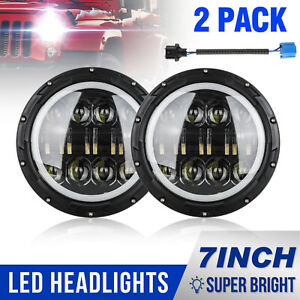 2x 7 Osram 300w Round Led Headlight High low Beam Bulb For Jeep Wrangler Jk Tj