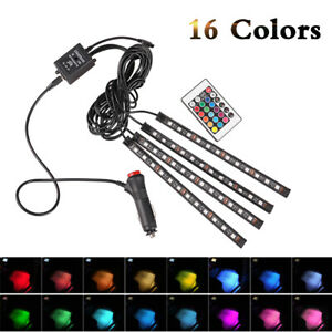 4pcs 48 Led Car Interior Atmosphere Neon Lights Strip Wireless Ir Remote Control