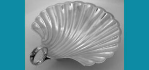 6 Scalloped Sterling Silver Nut Butter Dish In Shell Shape By Fisher