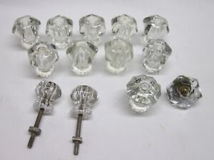 Lot Of 13 Vintage Clear Glass Drawer Knob Pulls Salvaged