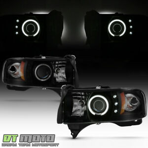 Black Smoke Fits 1994 2001 Dodge Ram 1500 Ccfl Halo Led Projector Headlights