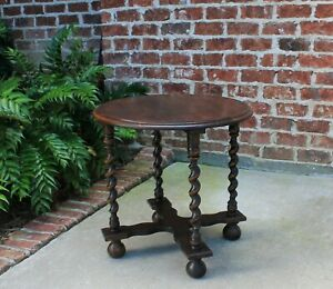 Small Antique English Oak Barley Twist Table Round End Table Accent Table