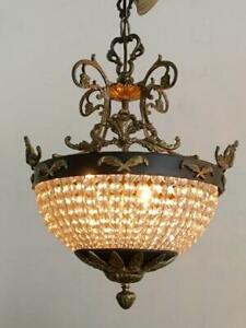 Antique French Empire Brass Beaded Crystal Bag Basket Petite Chandelier Lamp