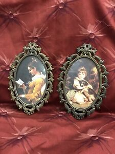 Set Of 2 Vintage Oval Metal Picture Frames Made In Italy