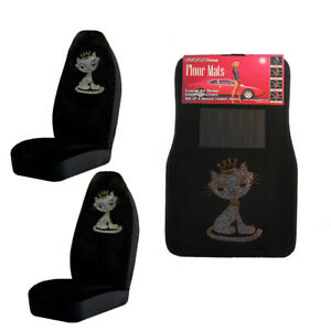 White Kitty W crown Crystal Studded Rhinestone Car Floor Mats Seat Covers Combo