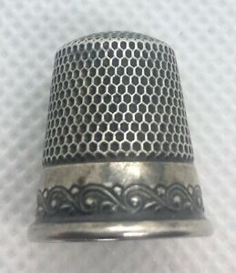 Antique Ketcham Mcdougall Sterling Silver Thimble Etched Design Size 7