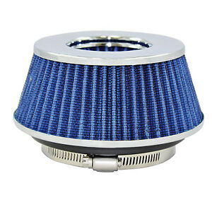 Small Blue Universal Cone Intake Air Filter 2 625 L X 6 W Inlet 3 3 5 Or 4