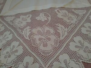 Amazing Finely Done Irish Crochet Lace Linen 50 X49 Tablecloth Pansy Design