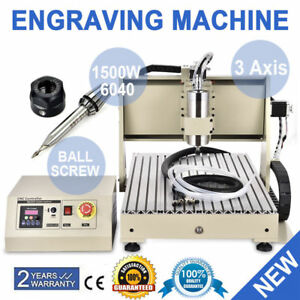 3 Axis 6040 Cnc Router 1500w Vfd Milling Engraver 3d Drilling Carving Machine Us