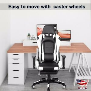 Race Car Style Office Gaming Chair Ergonomic Recliner Footrest Armrest High Back