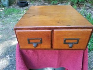 Wabash Cabinet Co Oak Library Card Catalog 2 Drawer File Box