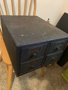 Antique 4 Drawer Library Card Catalog Index File Cabinet Vintage Industrial 2x2