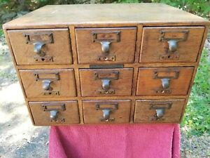 Library Bureau Makers Oak 9 Drawer Card File Cabinet Library Card Catalog