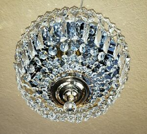 Vintage Flush Mount Brass Crystal Chandelier Ceiling Light Fixture Gorgeous