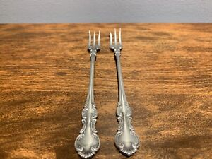 Wallace 1835 Troy 1902 2 Silver Plate Seafood Cocktail Forks No Monogram
