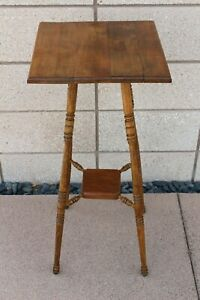 Antique Solid Wood Fern Stand Plant Table With Walnut Top Oak Legs Cherry Shelf
