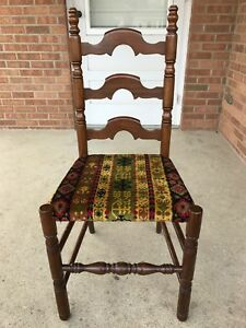 Solid Mahogany Ladderback Dining Side Chair Wood Upholstered Seat Vintage Exclnt