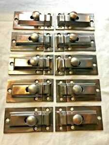 Lot Of 10 Copper Flash Cast Iron Hoosier Or Cabinet Door Latch W Catch Latches