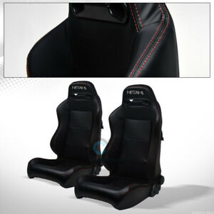 For Bmw Buick Tr Blk Pvc Leather Red Stitch Reclinable Racing Seats Slider Pair