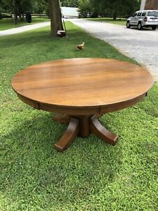 Antique Stickley Brothers Mission Arts Crafts Round Oak Dining Table 54
