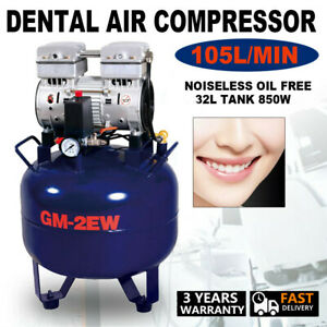Dental Air Compressor Medical Noiseless Oil Free Oilless 32l Tank 850w 105l min