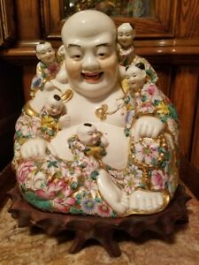Chinese Porcelain Buddha With Five Kids Statue