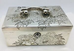 Japanese Antique Sterling Silver Floral Bird Butterfly Large Folding Jewelry Box