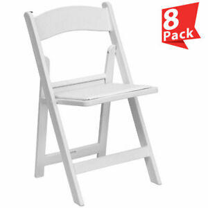 8 White Folding Resin Chair Waterproof Vinyl Padded Seat Wedding Party Chairs