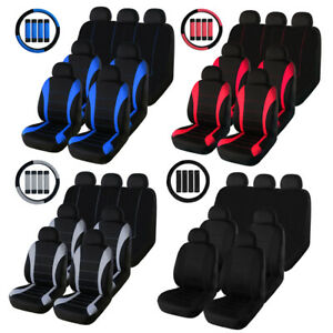 3row 7seater Car Seat Covers Front Rear Set W Headrest Steering Wheel Belt Pad