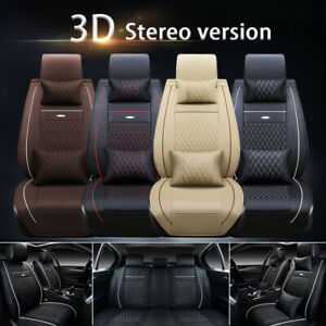 Car Seat Cover Pu Leather Front Rear 5 Seats Auto Full Set W Neck Lumbar Pillow
