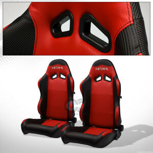 For Gmc Honda Sp Blk red Pvc Leather Stitch Reclinable Racing Seats slider Pair