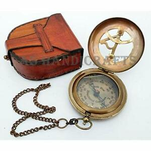Antique Steampunk Brass Sundial Compass Sundial Watch With Leather Case Home