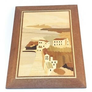Vintage Wood Marquetry Country Art Inlay Picture 9x7
