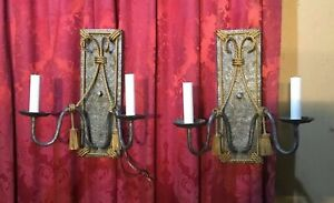Pair Of Vintage Antique Style Two Light Wall Sconce Fixtures With Tassels